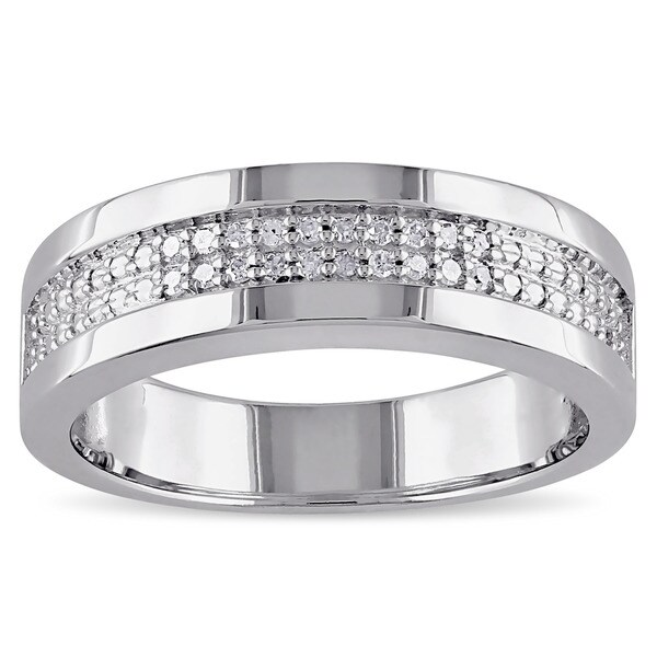 miadora sterling silver mens 110ct tdw diamond wedding band