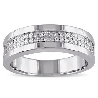 Miadora Sterling Silver Men's 1/10ct TDW Diamond Wedding Band (5 options available)