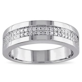 Miadora Sterling Silver Men S 1 10ct Tdw Diamond Wedding Band 5 Options Available