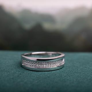 Miadora Sterling Silver Men's 1/10ct TDW Diamond Wedding Band|https://ak1.ostkcdn.com/images/products/9836535/P16999875.jpg?impolicy=medium