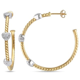 Miadora Sterling Silver 1/10ct TDW Diamond Hoop Heart Earrings (G-H, I2-I3)
