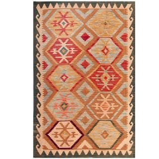 Herat Oriental Afghan Hand-woven Tribal Kilim Beige/ Green Wool Rug (4'1 x 6'2)