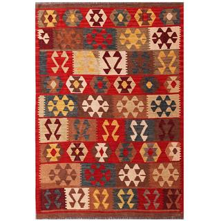 Herat Oriental Afghan Hand-woven Tribal Kilim Brown/ Red Wool Rug (4'3 x 5'11)