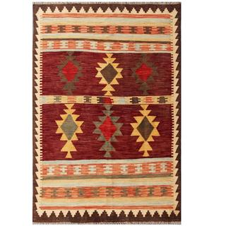Herat Oriental Afghan Hand-woven Tribal Wool Kilim (4' x 5'10)