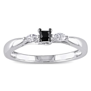 Miadora 10k White Gold 1/4ct TDW Black and White Diamond 3-stone Ring