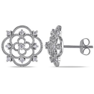 Miadora 10k White Gold 1/4ct TDW Diamond Medallion Stud Earrings