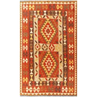 Herat Oriental Afghan Hand-woven Tribal Kilim Brown/ Rust Wool Rug (3'11 x 6'5)