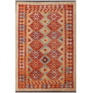 Herat Oriental Afghan Hand-woven Tribal Kilim Red/ Gold Wool Rug (4 x 5' 11)
