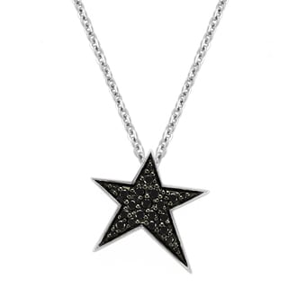 Beverly Hills Charm Sterling Silver 1/5ct TDW Black Diamonds Star Necklace (Black)