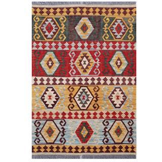 Herat Oriental Afghan Hand-woven Tribal Wool Kilim (4'2 x 5'11)