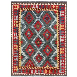 Herat Oriental Afghan Hand-woven Tribal Kilim Light Blue/ Red Wool Rug (4'4 x 5'8)