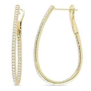 Miadora Signature Collection 14k Yellow Gold 1ct TDW Diamond Hoop Earrings