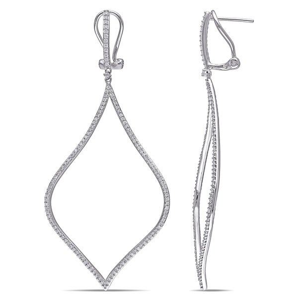 Miadora Signature Collection 14k White Gold 3/4ct TDW Diamond Dangle Earrings