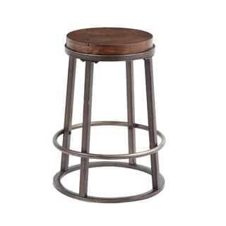 Signature Design by Ashley Glosco 24-inch Wood and Metal Bar Stool (Set of 2)