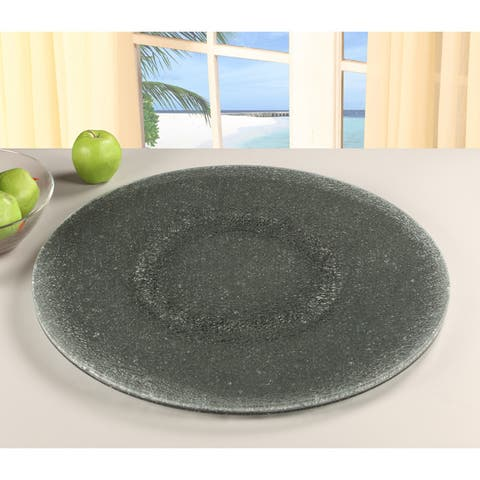 Somette Grey Sandwich Glass 24-inch Lazy Susan - 24 x 3