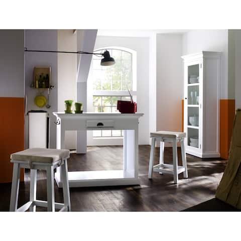 NovaSolo Mahogany Kitchen Table Set with Stools and Cushions