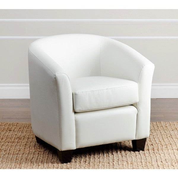 Abbyson Montecito Ivory Leather Armchair - Free Shipping ...