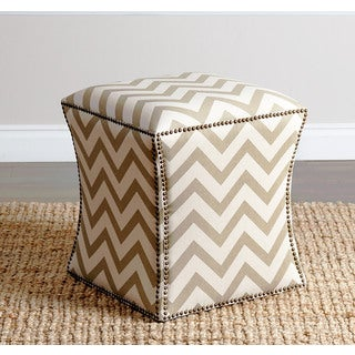 ABBYSON LIVING Kimberly Gold Chevron Nailhead Trim Ottoman