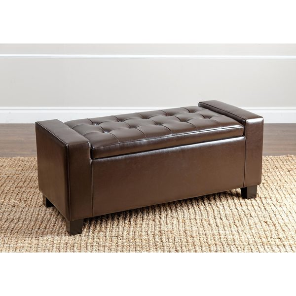 Abbyson Montecito Dark brown Leather Storage Ottoman - Abbyson Montecito Dark Brown Leather Storage Ottoman - Free