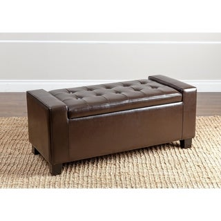 Abbyson Montecito Dark Brown Leather Storage Ottoman