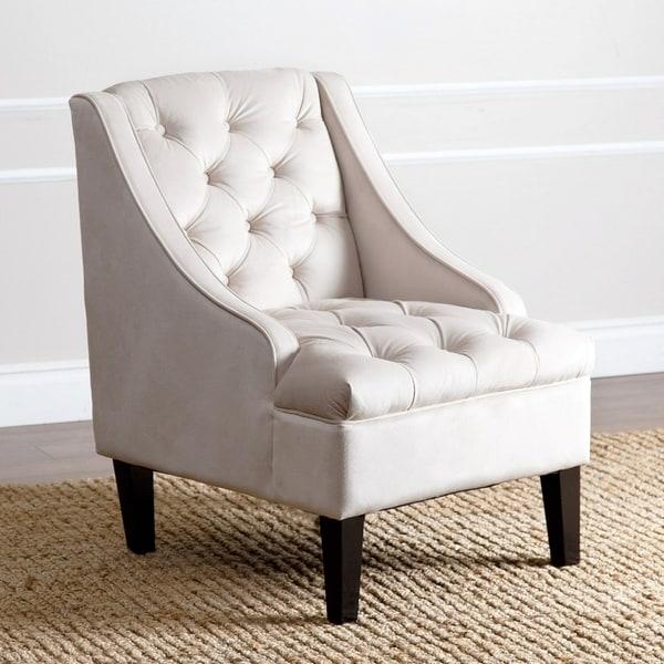 Shop Abbyson Laguna Tufted Velvet Ivory Accent Chair