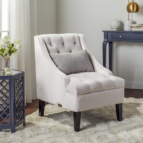 Abbyson Laguna Ivory Velvet Tufted Accent Chair