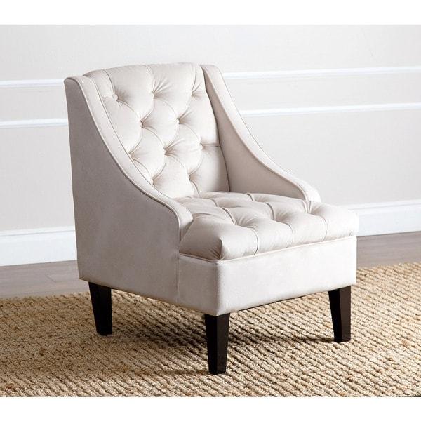 Abbyson Laguna Tufted Velvet Ivory Accent Chair