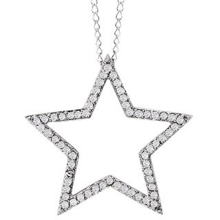 Avanti 14k White Gold 1/4ct TDW Diamond Star Necklace (G-H, I1-I2)
