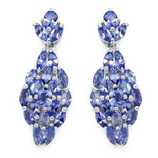 Malaika 3.56 Carat Genuine Tanzanite .925 Sterling Silver Earrings