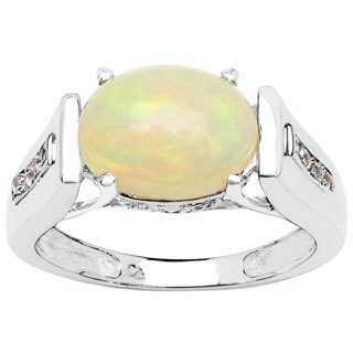 Olivia Leone 1.73 Carat Ethiopian Opal and White Topaz .925 Sterling Silver Ring