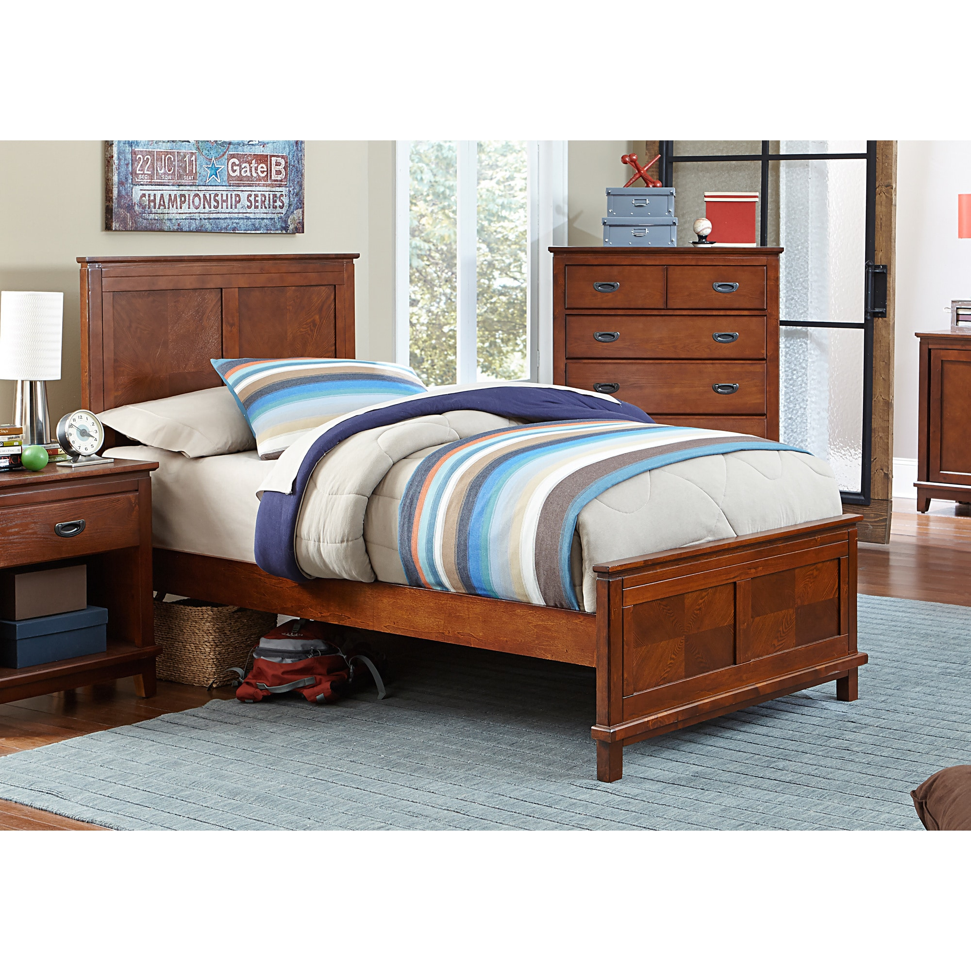 Image of: Shop Hillsdale Bailey Mission Oak Panel Bed Overstock 9893664