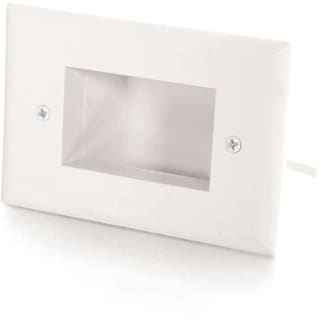 C2G Single Gang Easy Mount Recessed Low Voltage Cable Plate (White)