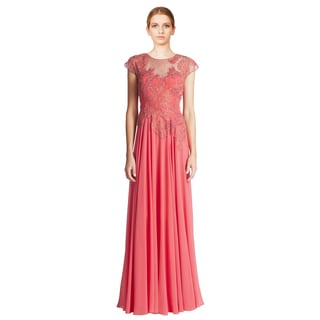 Teri Jon Coral Pink Beaded Lace Applique Cap Sleeve Evening Gown Dress