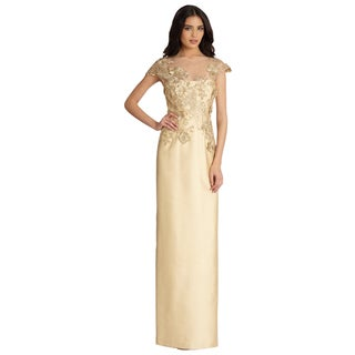 Teri Jon Gold Lace Illusion Applique Cap Sleeve Evening Dress