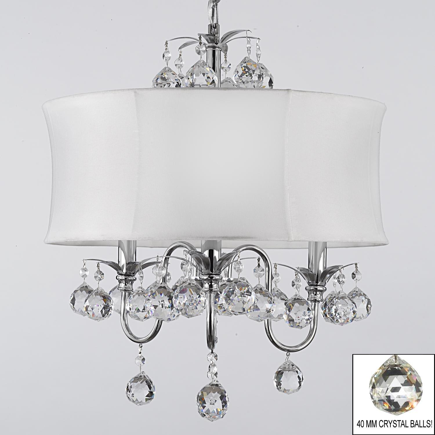 Modern Contemporary White Drum Shade & Crystal Ceiling Chandelier Lighting Pendant Lighting With Faceted Crystal Balls - Thumbnail 0