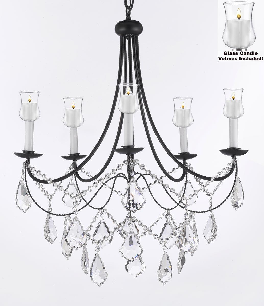 Crystal Chandelier Lighting With Candle Votives H22.5 W26 For Indoors/Outdoors
