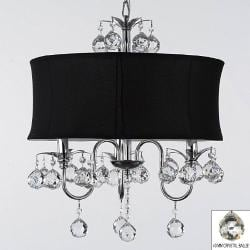 Modern Contemporary Black Drum Shade & Crystal Ceiling Chandelier Lighting Pendant Light With Faceted Crystal Balls - Thumbnail 0