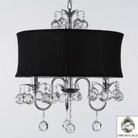 Modern Contemporary Black Drum Shade & Crystal Ceiling Chandelier Lighting Pendant Light With Faceted Crystal Balls