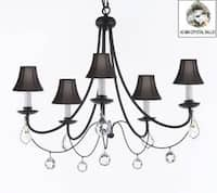 Empress Crystal Wrought Iron Chandelier Lighting With Black Shades & Faceted Crystal Balls H22.5 x W26