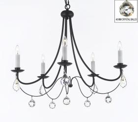 Empress Crystal Wrought Iron Chandelier Lighting With Faceted Crystal Balls H22.5 x W26