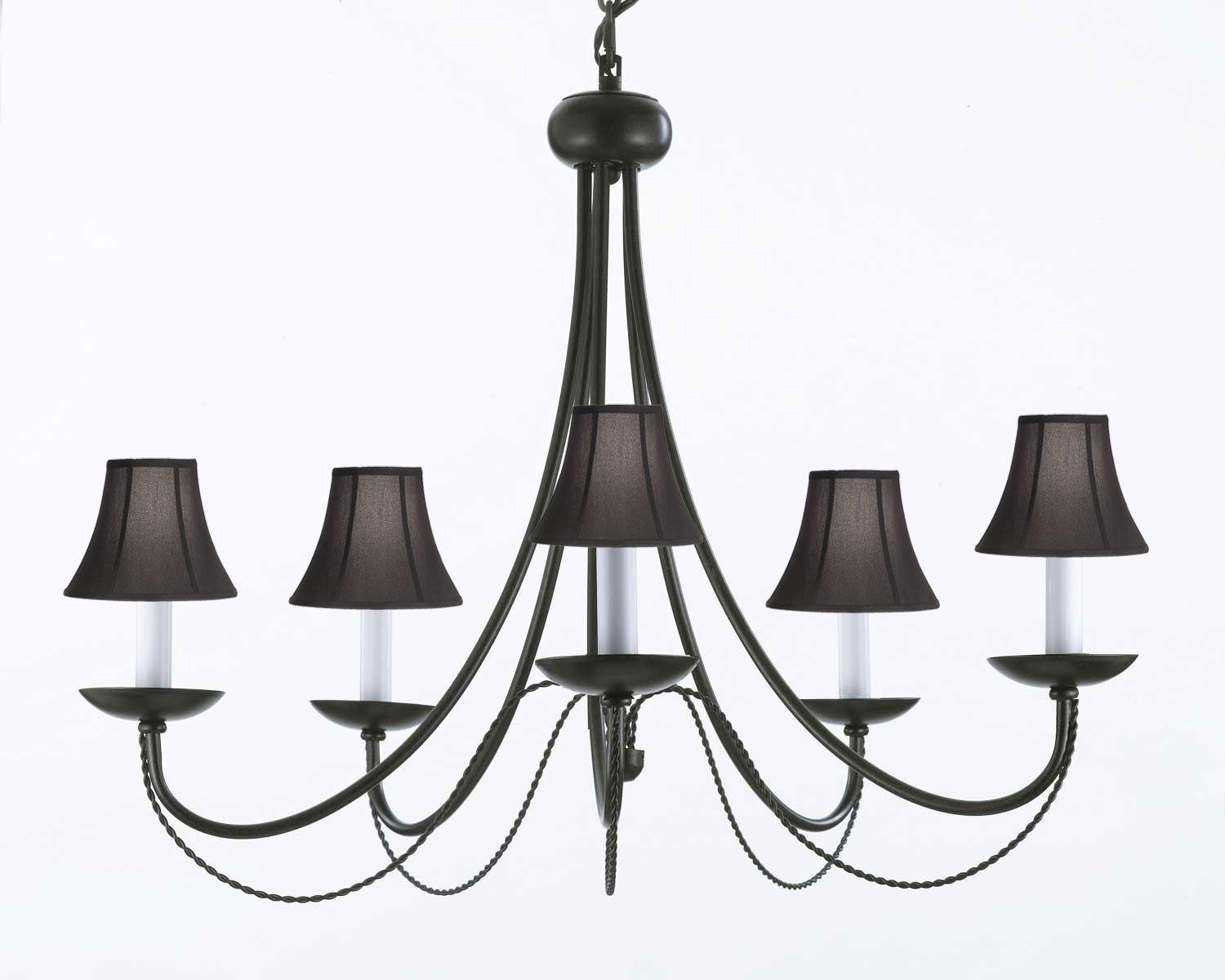 Shop wrought iron plug in chandelier lighting with black shades h22 wrought iron plug in chandelier lighting with black shades h22 x w26 aloadofball Images