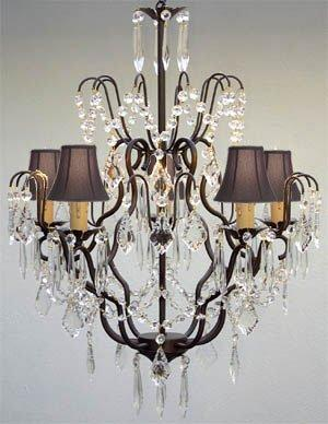 New Wrought Iron & Crystal Chandelier Lighting With Black Shades H27 x W21