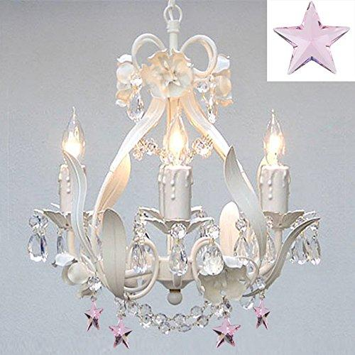 White Iron Empress Crystal Flower Chandelier Lighting With Pink Crystal