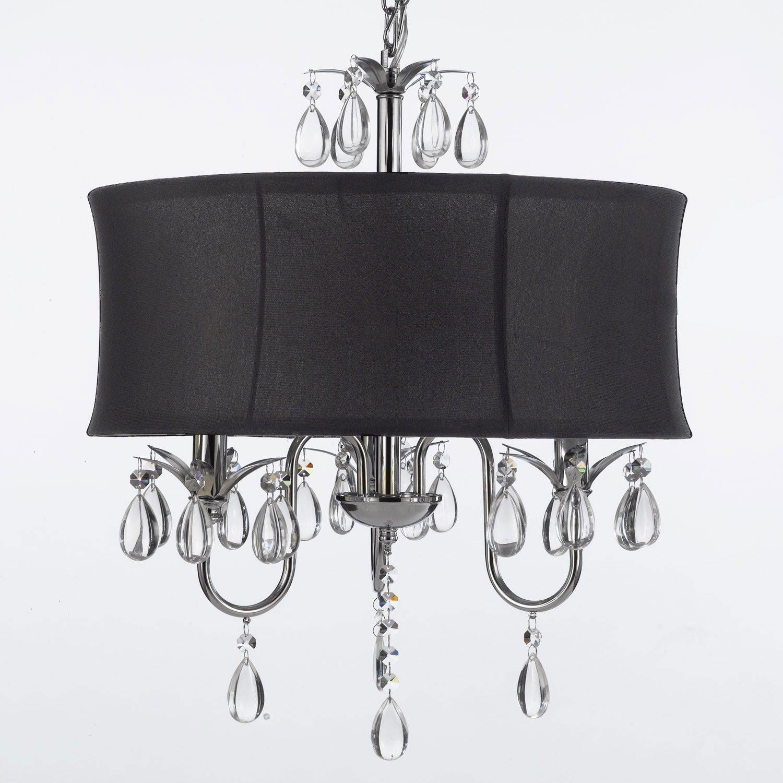 Modern Contemporary Black Drum Shade & Crystal Ceiling Chandelier Lighting Pendant