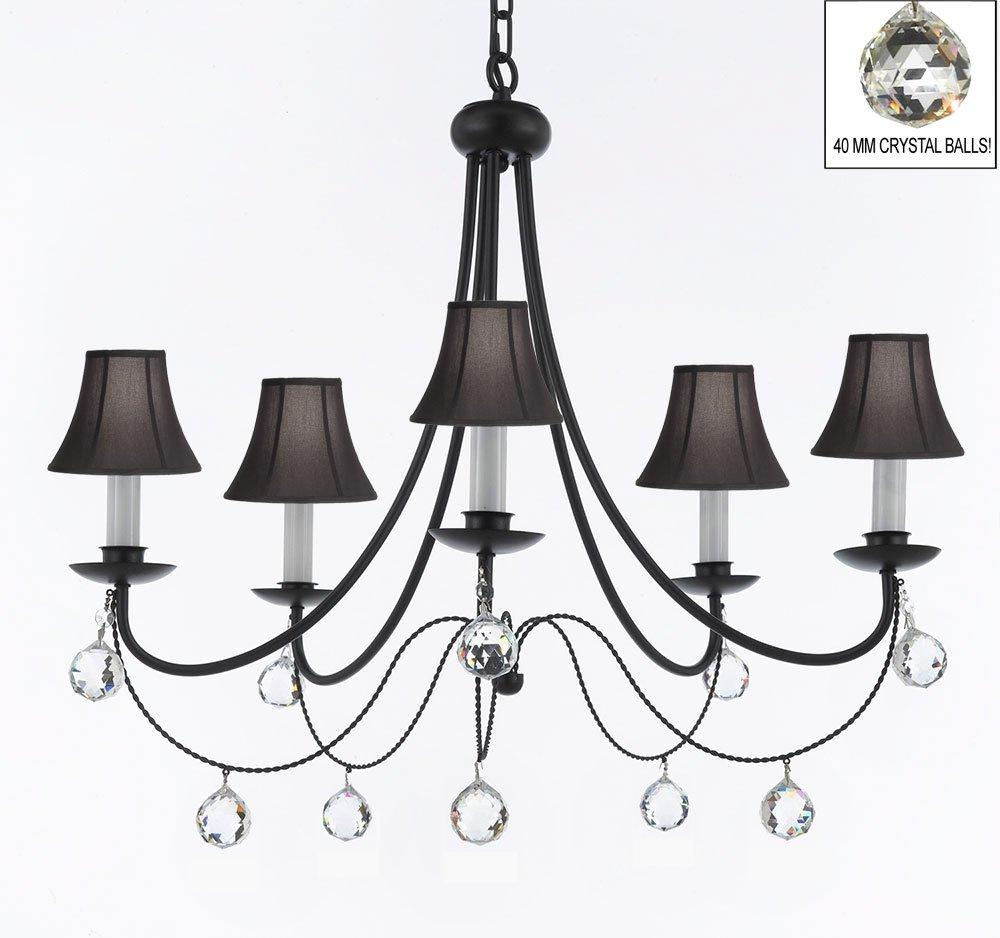 Empress crystal wrought iron chandelier lighting with black shades faceted crystal balls h22