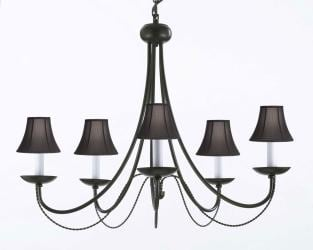 Wrought Iron Chandelier Lighting With Black Shades H22 x W26 - Thumbnail 0
