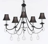 Empress Crystal Wrought Iron Chandelier Lighting With Black Shades H22.5 x W26