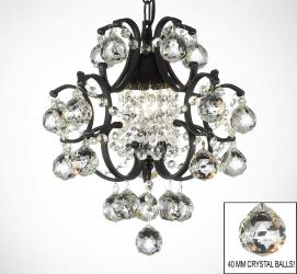 Wrought Iron Mini Crystal Chandelier Lighting With Crystal Balls - Thumbnail 0