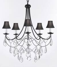 Empress Crystal Wrought Iron Chandelier Lighting H22.5 x W26 With Black Shades
