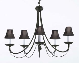 Wrought Iron Plug In Chandelier Lighting With Black Shades H22 x W26 - Thumbnail 0